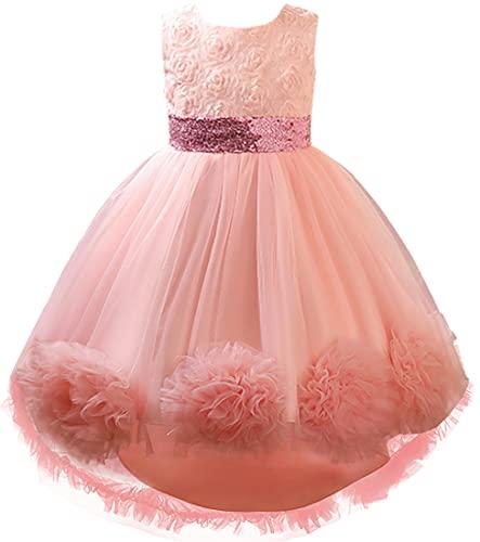 OLIPHEE Abito Elegante da Principessa per Festa Compleanno Vestito Ragazza dei Fiori Cerimonia per Bambine e Ragazze Sintetico