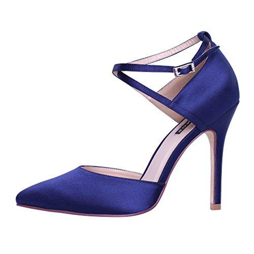 ERIJUNOR E2264 Women High Heel Ankle Strap Satin Dress Pumps Evening Prom Wedding Shoes Plum Size 6
