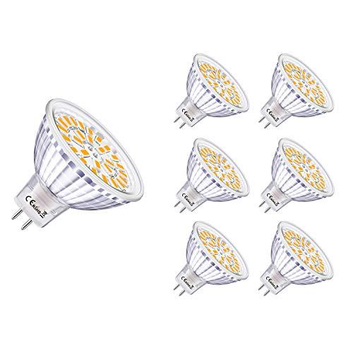 6er MR16 GU5.3 LED Lampen Warmweiß 5W Ersatz für 40W Halogen Kein Flackern 3000K 450 Lumen LED Birne Leuchtmittel 120° Abstrahwinkel Spot Nicht Dimmbar AC/DC 12V
