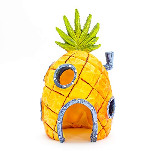 Penn-Plax Officially Licensed Nickelodeon SpongeBob Aquarium Ornament – SpongeBob's Pineapple House - Perfect for Fish to Swim In and Around - Full Color 6' Decoration