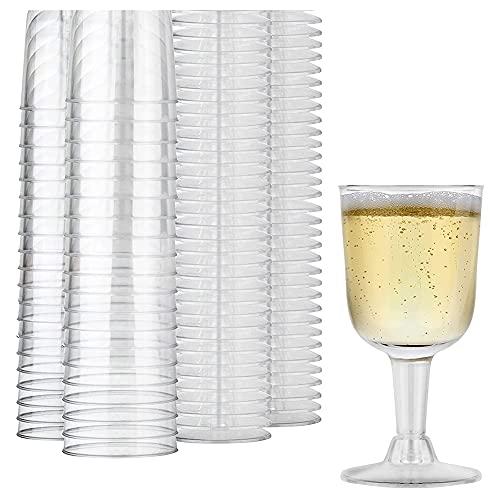 KU Syang Copa de Vino de PláStico Transparente Reciclable - Copa de Vino Inastillable - Vasos Desechables y Reutilizables para ChampáN, Postre 40 Piezas