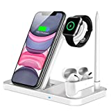 QI-EU Wireless Charger, 4 in 1 Qi-Certified Fast Charging Station Compatible Apple Watch Airpods Pro iPhone 12/11/11 Pro/X/XS/XR/Xs Max/8/8 Plus, Wireless Charging Stand Compatible Samsung Galaxy S20