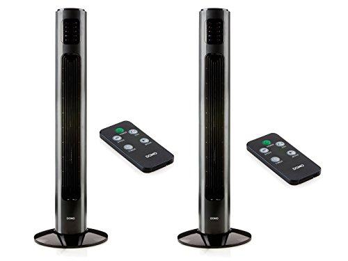 Turmventilator mit Fernbedienung 2er Set, 3 Leistungsstufen, 90cm, LED-Display