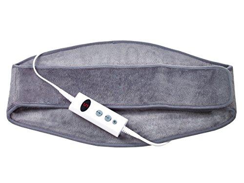 Promed Hgp-1.7 Cintura Termica per Schiena e Reni, Cuscino Termico con Funzione di Spegnimento Automatico, Termoforo Elettrico con Protezione Antisurriscaldamento, 10 Livelli di Temperatura, Grigio