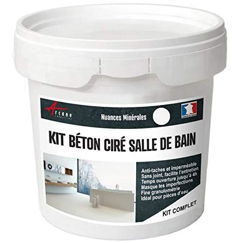 BETON CIRÉ: Kit BETONBESCHICHTUNG | KUNSTHARZ-BETON Badezimmer begehbare Dusche - Wasserdichte Beschichtung - Isatis-Weiß - 5 m²-Kit (2 Schichten)