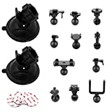 AEBTYKJ Dash Cam Suction Cup Mount-for YI 2.7',Old Shark, Z-Edge and Most Other Dash Camera with 16 Different Points, 4 x 3M Double Sided Adhesive Tapes