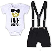Dimoybabe Baby Boy First Birthday Clothes Infant Cute Romper Suspender Outfits Bow Tie Y Back Pants White Dark Blue 12-18 Months 100cm