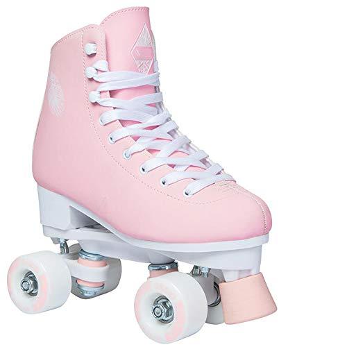 XYZLEO Rollschuhe 4 Rollen Erwachsene Kinder Doppelte Reihe Damen Rollerblades Mode Sanft Komfortabel Kinder, Dauerhaft Stumm Stabil Bremse Sicherer,Rosa,38