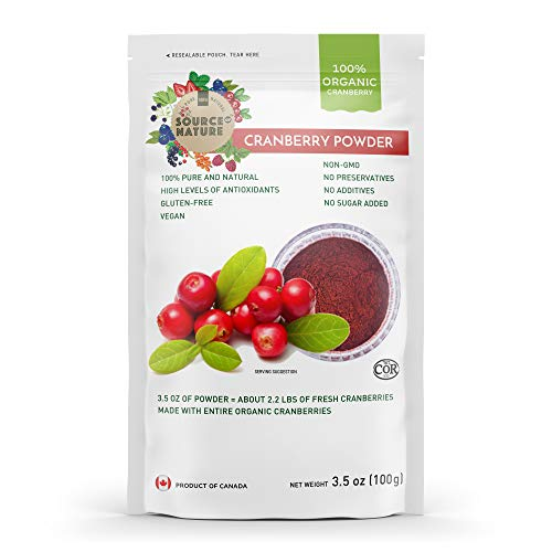 Organic Cranberry Powder 3.5oz (100g) 100% Whole Berry; Not Extract, Not Concentrate, Not Juice Powder