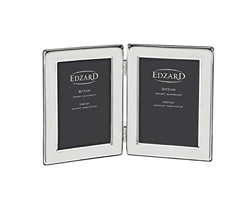 EDZARD Doppel-Fotorahmen Salerno für 2 Fotos 9 x 13 cm, edel versilbert, anlaufgeschützt