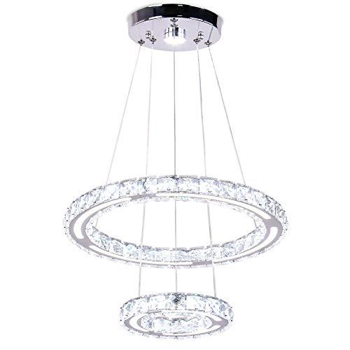 Modern 2 Rings Crystal Chandelier Light Fixtures LED Round Pendant Lighting Adjustable Stainless Steel Ceiling Hanging Lamp for Living Room Dinning Room Bedroom ( Cool White)