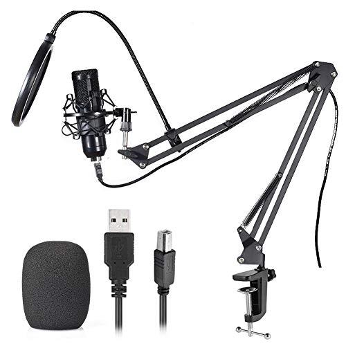 luckything Condensatormicrofoon, professionele USB-condensatormicrofoon, kit 192 kHz / 24 bits, voor laptop, microfoon en microfoonstandaard, popbescherming voor reparaties, podcast, radio