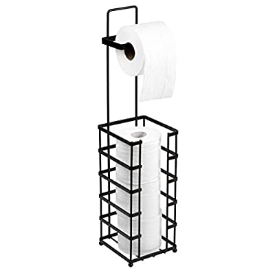 Richards Homewares Toilet Paper Holder Free Standing Storage and Bathroom Hold Jumbo and Mega Size Rolls, 5.94 x 5.94 x 25.35, Decorative Modern Black Metal and Wire Design