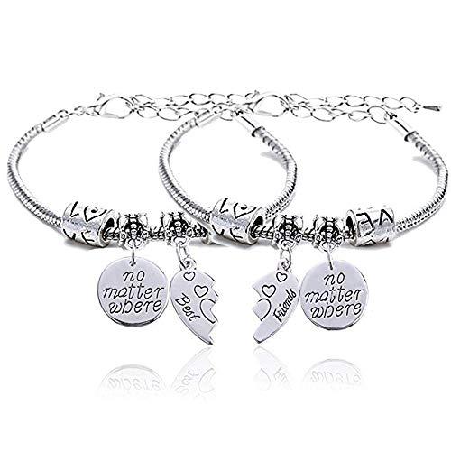 2 unids BBF Best Friends No importa dónde Compass Split Broken Heart pulseras dobles Set regalo de la amistad
