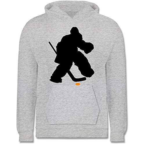 Sport Kind - Eishockeytorwart Towart Eishockey - 104 (3/4 Jahre) - Grau meliert - Torwart - JH001K JH001J Just Hoods Kids Hoodie - Kinder Hoodie