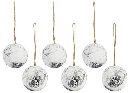 Auldhome Birch Ball Christmas Ornaments (Set of 6, 3.5-Inch); Woodland Themed Holiday Decorations for Farmhouse Decor