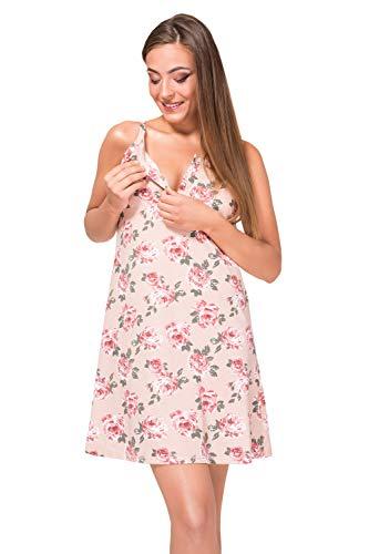 Sibinulo Camisón de Maternidad Pijama Lactancia Vestido Galleta Rose M