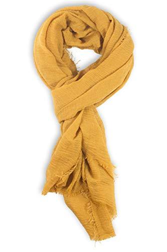 fashionchimp ® BASIC-Schal für Damen in angesagten Trendfarben und weichem Fransensaum (Curry)