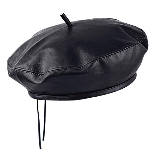 Samtree Classic PU Leather French Beret Hat for Women, Adjustable Solid Color Artist Painter Cap Black