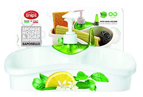 Snips SAPONELLO-Portaspugne da lavello con dosatore Sapone, Bianco con decori, 26x11,5x14,5
