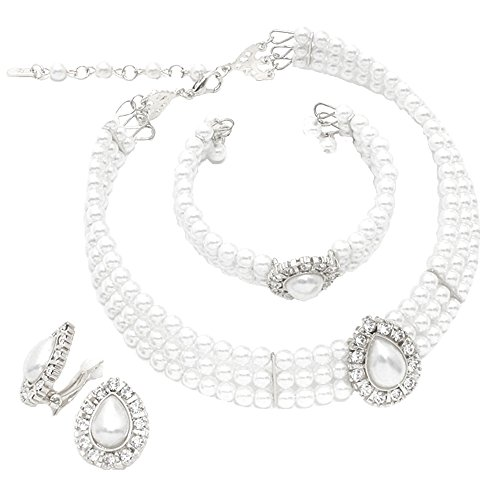 Schmuckanthony Hoernel. Hochzeit Wedding Bridal Brautschmuck Abend Ball Schmuck Schmuckset Collier Necklace Kette Set Silber Ohrclips Clips Ohrringe Armreif Perlen Weiß Kristall klar Transparent