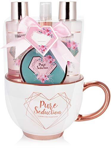 BRUBAKER Cosmetics 5-teiliges Pflegeset Pure Seduction - Rosenwasser Champagner - Beauty Hautpflege Geschenkset in moderner Kaffeetasse - Roségold