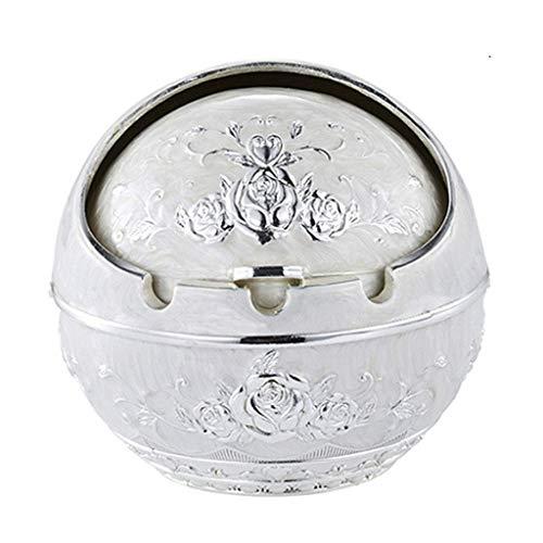 Cenicero, Cubierta de aleación de zinc metal esférico de aleación de zinc Cenicero Se utiliza for Ministerio del arte del regalo (Color: Plata Plata lateral de la flor, tamaño: 8.5 * 9.5), Tamaño: 7.5