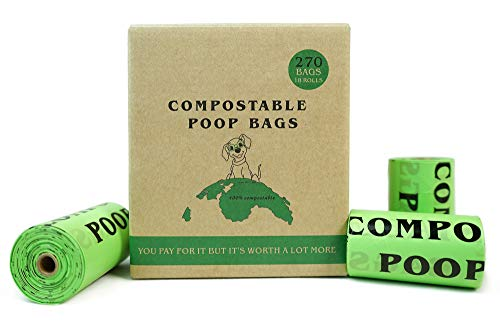 Dog Poop Bags Biodegradable,Dog Waste Bags Refill Rolls,100% Compostable Pet Poop Bags, 9 x 13 Inches, Extra Thick 20 Micron, Unscented, Leak Proof, Eco-Friendly Material, Green (270 Bags, 18 Rolls)