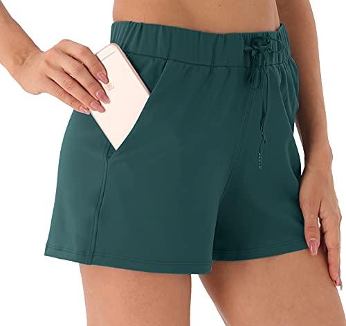 Persit Pantalones cortos de deporte para mujer, transpirables, con bolsillos y cordón Pulgadas Verde S
