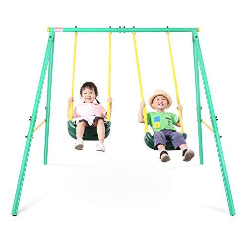 MaxKare Swing Set Metal Outdoor Play Swing Set 2...