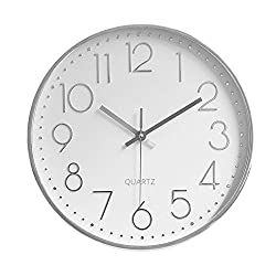 Foxtop Modern Wall Clock, 12 inch Silent Non-Ticking Battery Operated Decorative Silver Wall Clock for Office Home Living Room (Arabic Numeral, Silver Plastic Frame, Glass Cover)