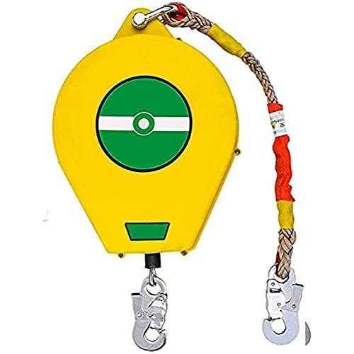 TADYL Protección contra Caídas Línea De Vida Autorretráctil Cable De Eslinga con Amortiguación De Golpes, Bloque De Detención De Caídas Dispositivo De Seguridad De Altura del Carrete De Inercia-15M