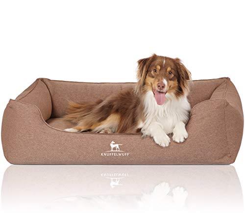 Knuffelwuff Orthopädisches Hundebett Leano Hundekorb Hundesofa Hundekissen Hundekörbchen waschbar Hellbraun XL 105 x 75cm