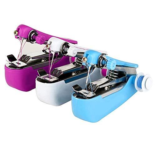 INTVN Máquina de coser a mano, Mini Maquina de Coser Portatil Máquina de coser eléctrica Portátil Máquina de Coser de Mano para bricolaje Ropa para el hogar Cortina de tela y uso en viajes