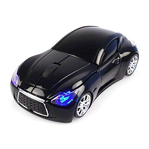 Laptopmuis, draadloos, sportauto, USB-ontvanger, ergonomisch, licht, 1200 dpi, optisch, 2,4 G (rood) zwart.
