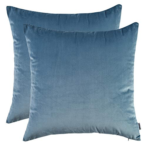 Artcest Set of 2, Cozy Solid Velvet Throw Pillow Case, Decorative Couch Cushion Cover, Soft Sofa Euro Sham with Zipper Hidden, 20'x20' (Light Blue)