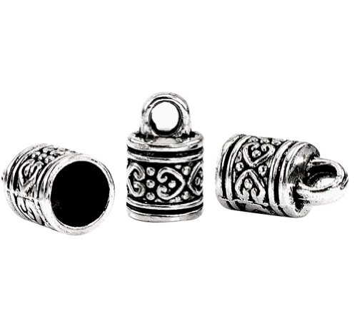 Housweety 40 Silver Tone Pattern Carved Column Pendants/Necklace End Caps 16x10mm
