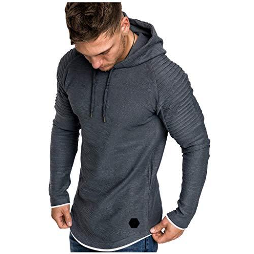 Xmiral Herren Sweatshirt Top Herbst Langarm Plaid Hoodie Mit Kapuze T-Shirt Outwear Streetwear Kapuzenpullover Outdoor Sportbekleidung(Y Grau,XL)