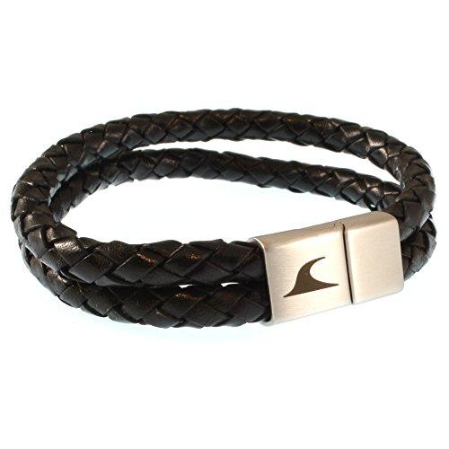 WAVEPIRATE® Echt Leder-Armband Tarifa F Schwarz 22 cm Edelstahl-Verschluss in Geschenk-Box Surfer Männer Herren