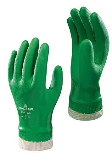 SHOWA 600 PVC grün Handschuhe - Knitwrist - 7/S