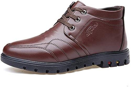 JIALUN-Schuhe 2018 Neue Herrenmode Arbeit Stiefeletten Casual Freizeit Runde Spitze Hohe Fleece Innenseite Warme Schuhe (Farbe   Braun, Größe   42 EU)
