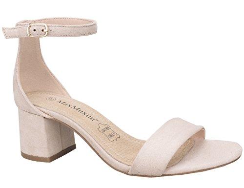 MaxMuxun Zapatos de Tacón Cuadrado Beige Casual Modo Clásico para Mujer Tamaño 39 EU
