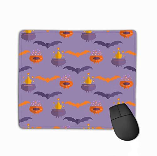 Alfombrilla de ratón Patrón de Halloween Diseño de Vacaciones Plantilla de diseño Castillo embrujado Árboles Murciélagos Luna Llena Rectángulo Goma Mousepad 25 * 30Cm