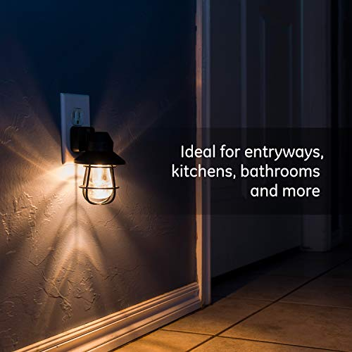 GE Vintage LED Night Light, 2 Pack, Plug-in, Dusk-to-Dawn Sensor, Farmhouse Décor, Rustic, UL Certified, Ideal for Bedroom, Nursery, Kitchen, Bathroom, Black Cage, 44737