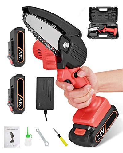 Minimotosierra eléctrica portátil de 4 pulgadas, con batería, para cortar y cortar ramas de jardín, color rojo