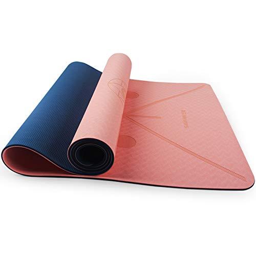 WXHXSRJ Esterilla de yoga, espuma de alta densidad, antideslizante, respetuosa con el medio ambiente, para el hogar, gimnasio, pilates, para mujeres y hombres, polvo de goma + azul