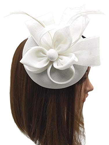 Coolwife Fascinators Pillbox Hat Sinamay Feather Flower Derby Ball Wedding Church Party Hair Clip (White)