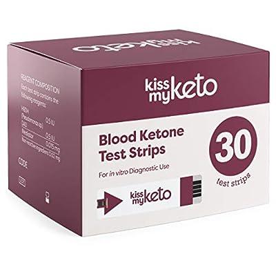 Kiss My Keto Blood Test Strips — 30x Blood Ketone Strips for KMK Keto Blood Monitor | Keto Testing Strips | for Monitoring Ketones on a Keto Diet — 1 Month Supply