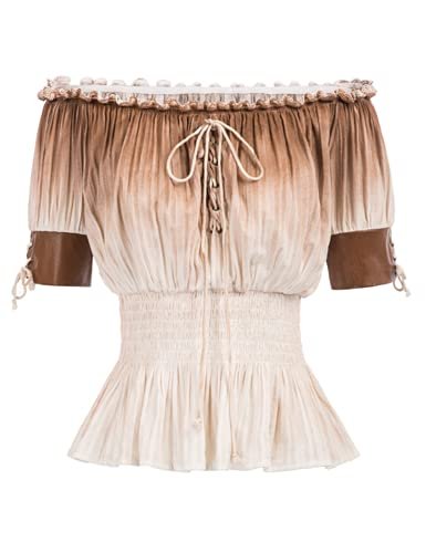 🍓FEATURES: Half-length sleeves with PU (polyurethane) leather cuffs, smocking waist 🍓Comfortable cotton fabric, lace details on the front 🍓Suitable for dressing with medieval retro style skirts, pants, etc. 🍓OCCASION: This victorian blouse is suitabl...