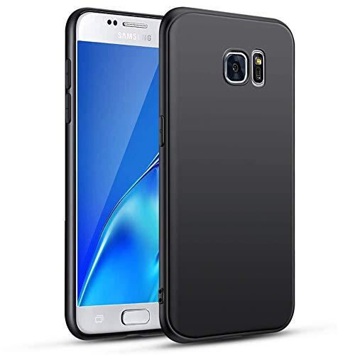 wsiiroon Hülle Kompatibel mit Samsung Galaxy S7, Weiche TPU Schwarz Matte Handyhülle, Anti-Scratch Schutzhülle, Anti Rutsch und Stoßfest Silikonhülle Soft Case Cover
